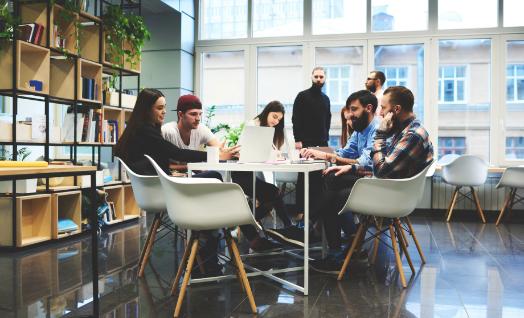 A marketing team in a meeting